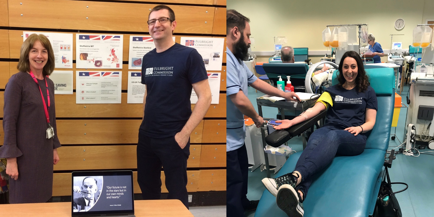 Left: Roger and Sheila at the school science fair. Right: Sarah Rose donating blood Glasgow.